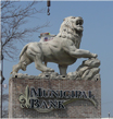 Large roaring lion permanently fixed on Municipal Bank sign